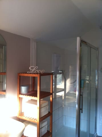 Shared access to large family bathroom with separate  bath and double shower