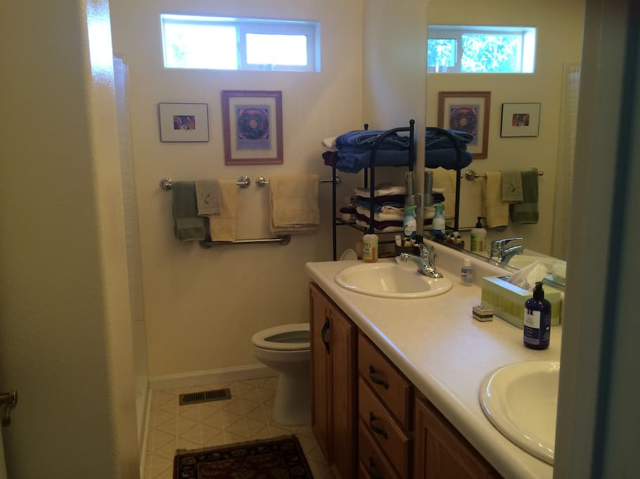 Large bathrooms with handicap accessible tub.