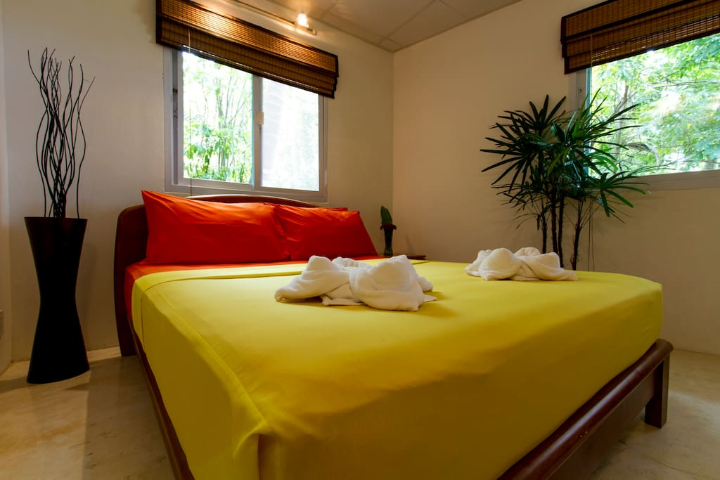 """The """"Bougainvillea"""" villa has two air-con bedrooms, each with best quality, full size mattress, and a large flat screen TV, with the Western programming via satellite, free wifi, & nice sound system"""