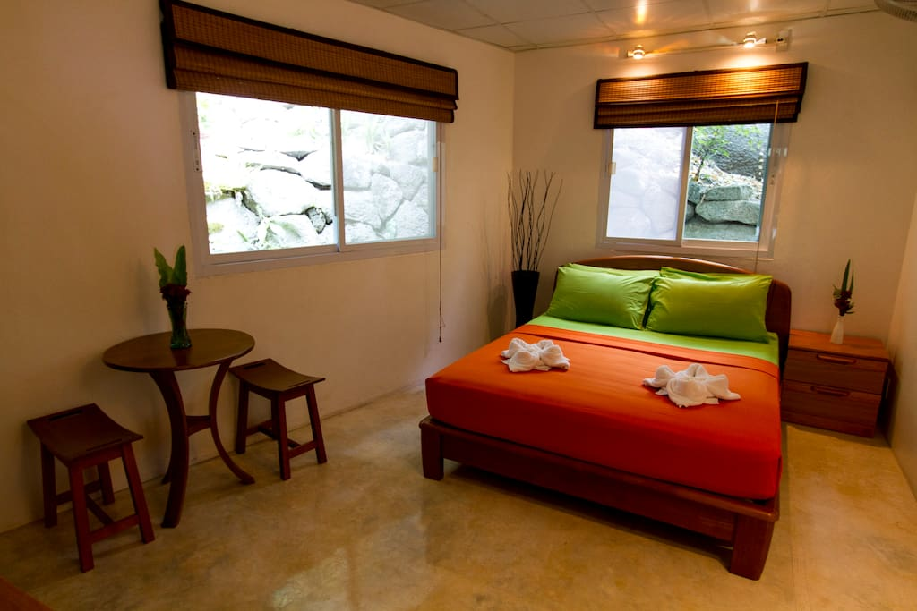 "The ""Bougainvillea"" villa bedrooms have the best quality mattresses, with air-con, big TV's, nice sound systems, & free wi-fi"