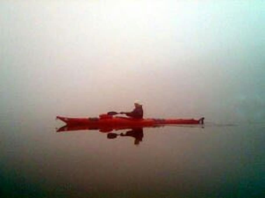 Kayak on the lake at dawn...