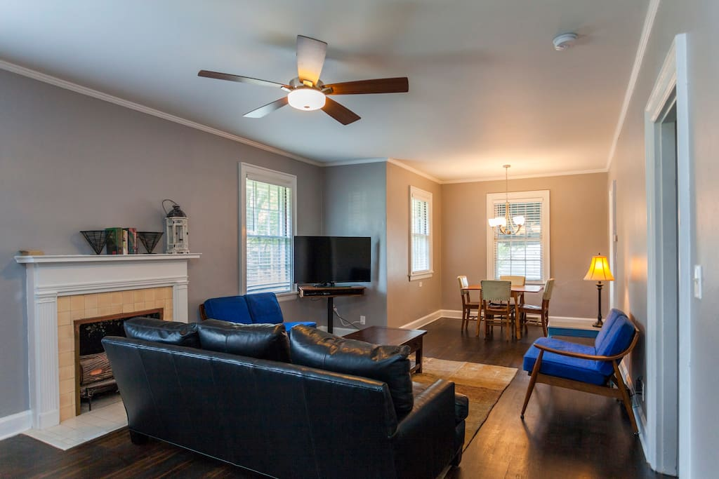 There is now a queen sofa bed in the living space. Each room has a queen bed. One room also has a twin bed. The space can sleep 9, total.   Permit #201514531