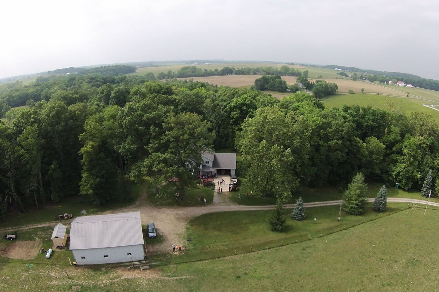 Woodhaven Farm house site and surrounding country side. Driveway is a long (0.3 mile) well maintained gravel drive leading off a paved county road.