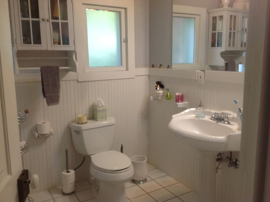 Old fashion bathroom with claw foot tub and shower