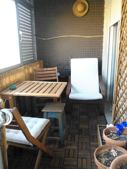 Sunny Balcony with view to the Farm (accessible from both rooms and kitchen directly, 3 doors)
