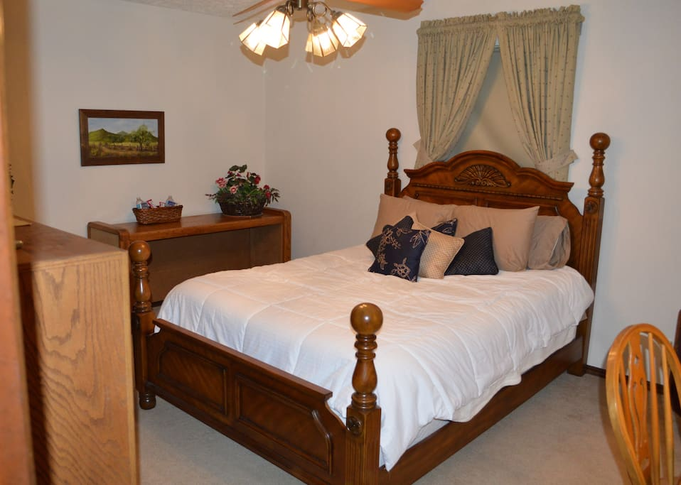 Your bedroom with queen bed, TV, desk, and closet.