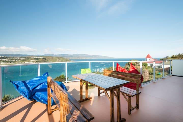 Beach house overlooking 3 blue seas