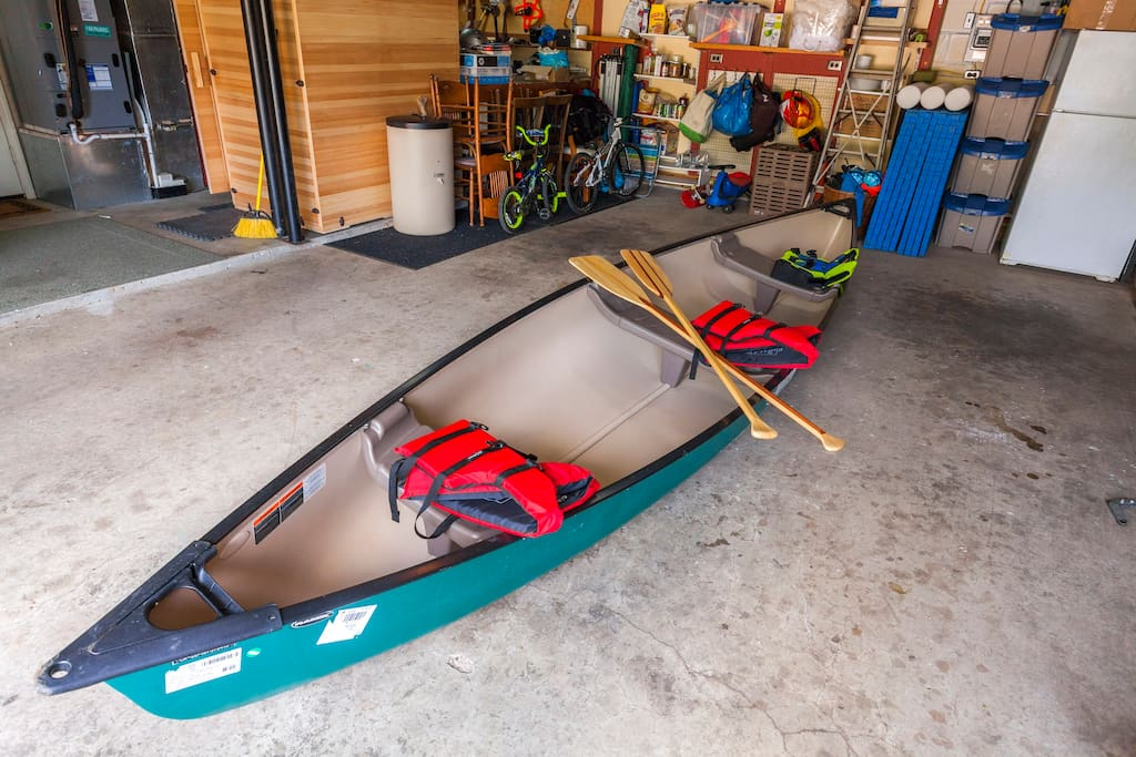 A canoe that seats 2 or 3 is available for a small fee
