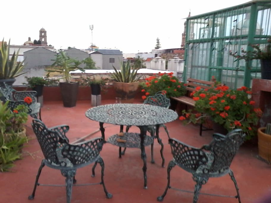 Roof top garden, for morning coffee, sun bathing, or evening drink,