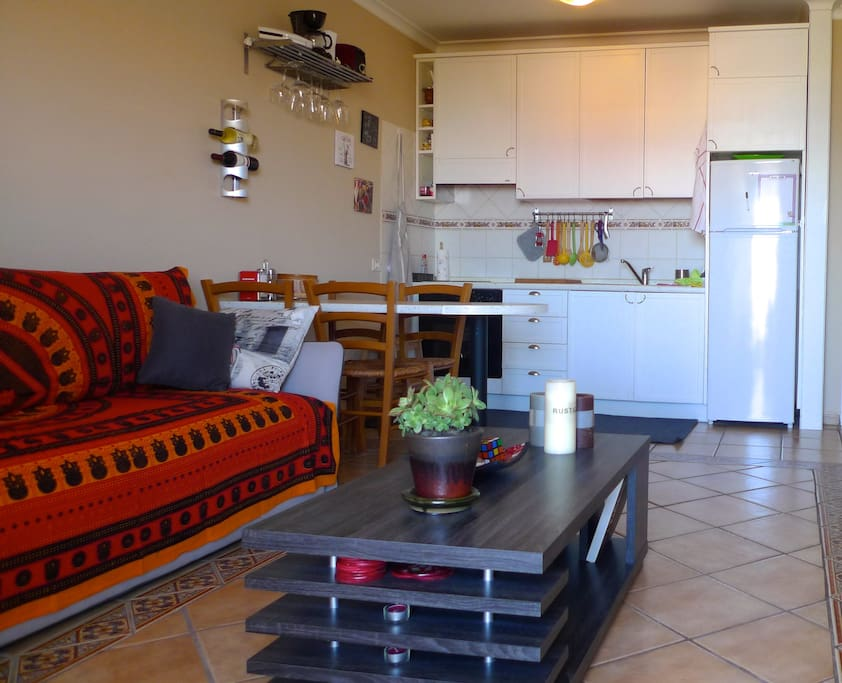 Cozy and bright american kitchen & living room