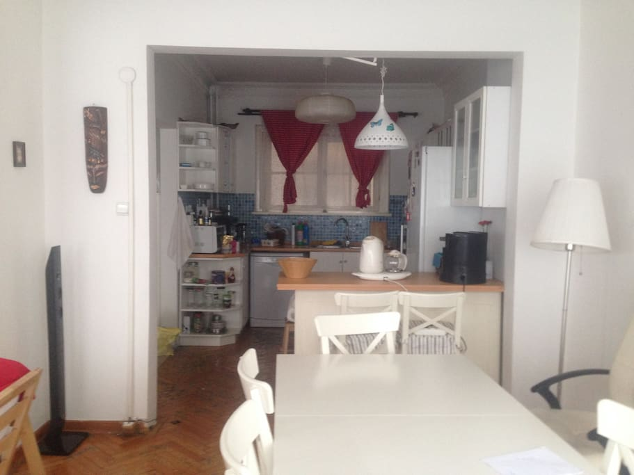 dinning table and open kitchen