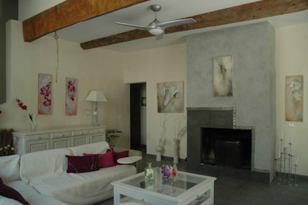 Grand salon avec vaste cheminée