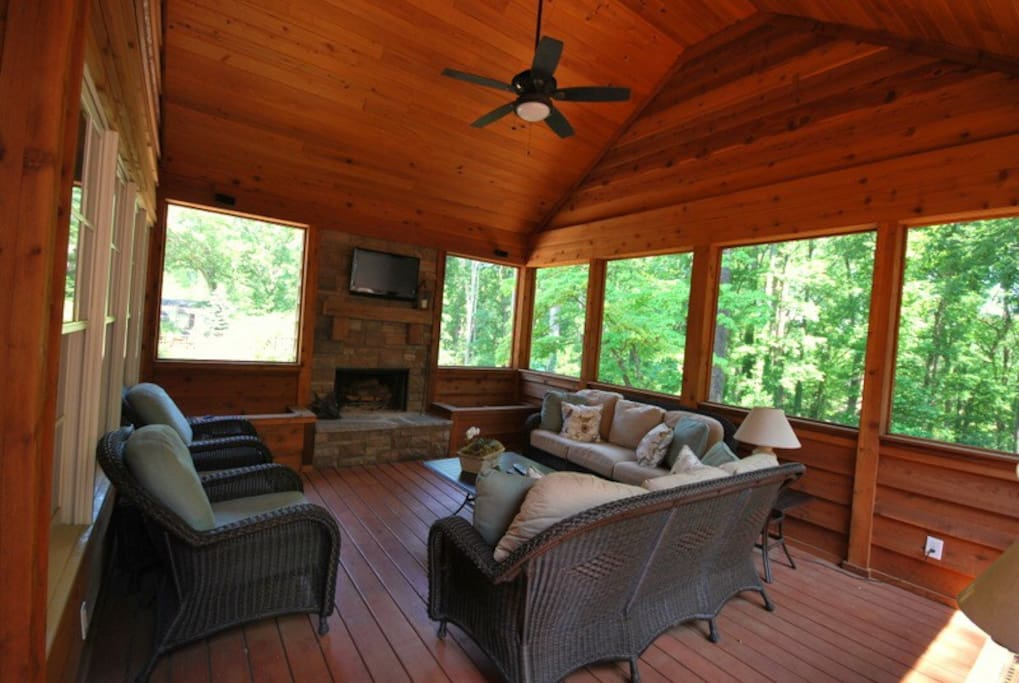 Screen porch. Perfect for watching football!