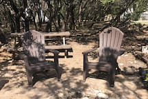Each tipi has two outdoor chairs for lounging and we have several picnic tables scattered throughout the grounds for picnicking!