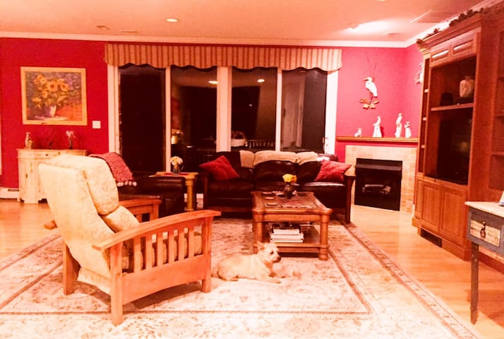 Spacious living room, leads to back deck with nature views and gas grill. Kitchen open plan so you can chat while cooking.