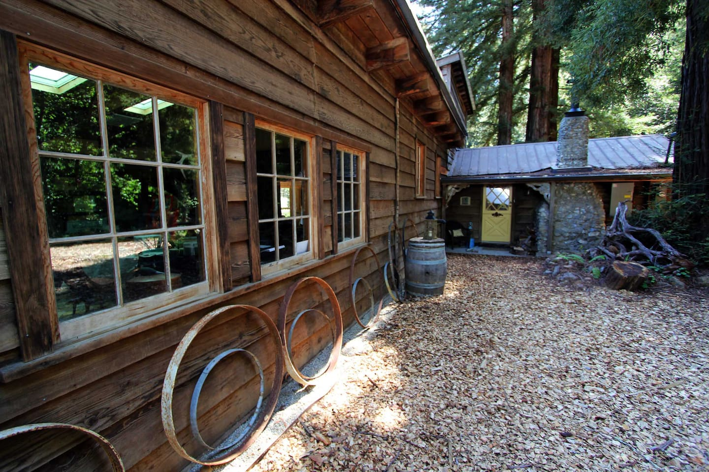 Rustic Ranch House built from redwood cut on the property in 1931.