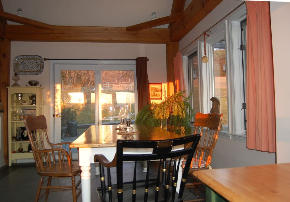 Breakfast in our dining room or sunroom breakfast nook where you can savor delicious homemade granola, pastries or pie while enjoying the view.
