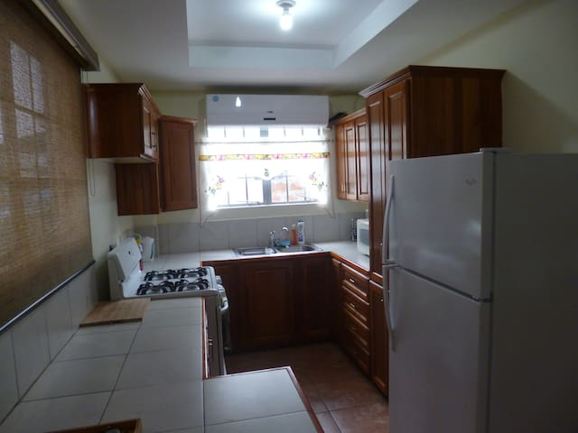 Kitchen with AC, Fridge, Microwave, Blender, Electric kettle, stove