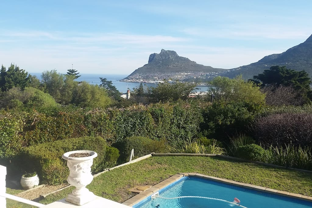 Sea views from the patio of Houtbay over the pool (covered)