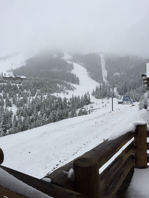 View from kitchen/ living room deck of Moonlight Basin slopes!