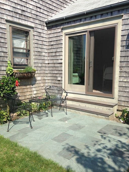 private entry with your own slate patio
