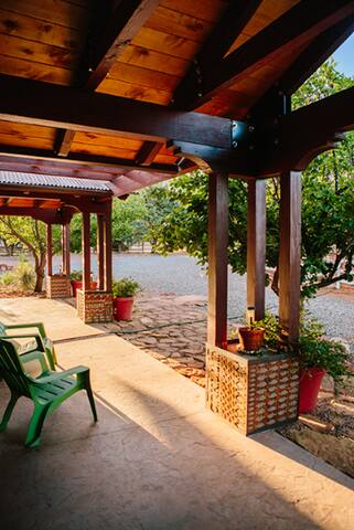 Your private fenced patio overlooking mountains & fruit trees.
