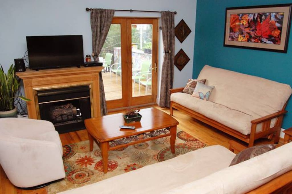 The apartment features a gas fireplace, cable television, and WiFi.