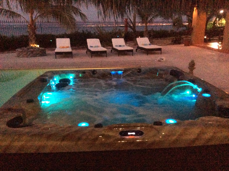New Spa at night. Over 70 jets.