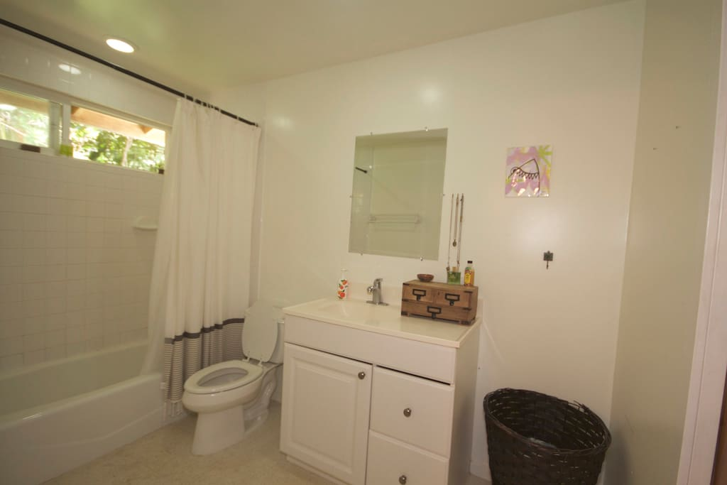 Full bathroom attached to bedroom.