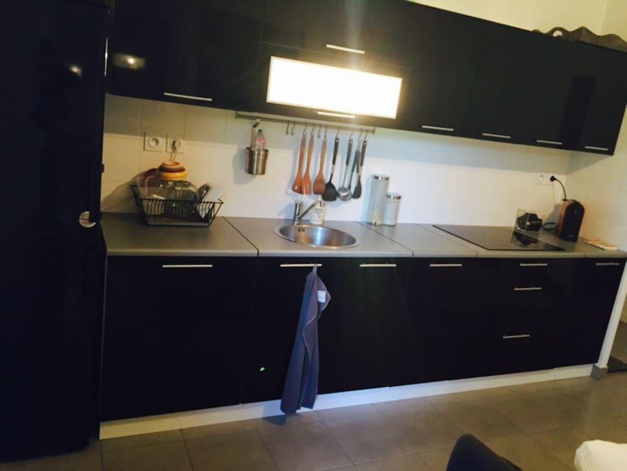 La cuisine ouverte sur le salon est équipée d'un réfrigérateur et d'un congélateur, d'une plaque à induction, d'une machine à café Nespresso, d'un micro onde ainsi que de tout les ustensiles nécessaires.