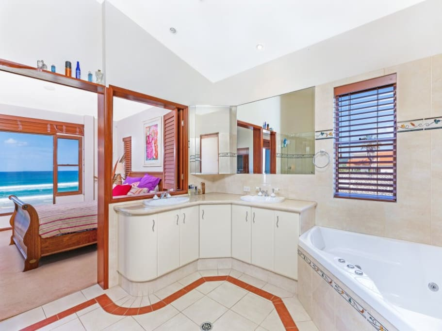 Bathroom for master bedroom is very nice, has spa and 5 headed impulse shower