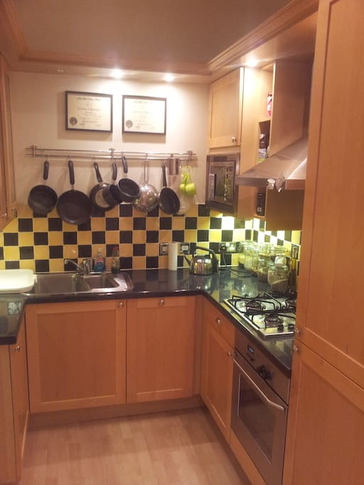 upgraded kitchen with stainless steal appliances and gas stovetop - opens onto the main living room.