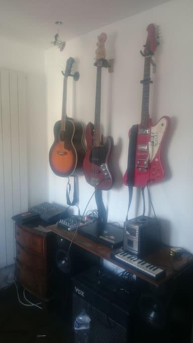 Larger Bedroom - Guitar Wall