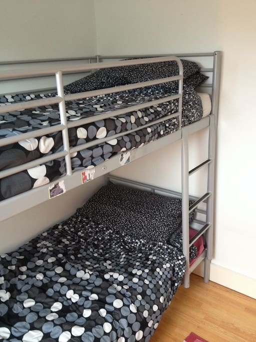 The bunk bed for two people. Don't fight over who gets the top, ok?