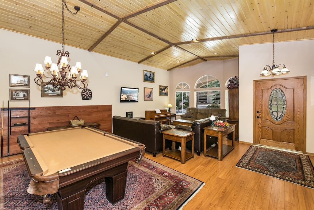 Pool Table, Darts, and Separate TV and Game Area for the Kids
