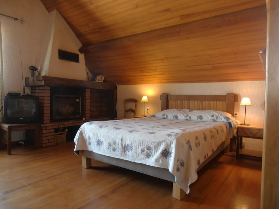 la chambre Gentiane, mansardée avec sa cheminée