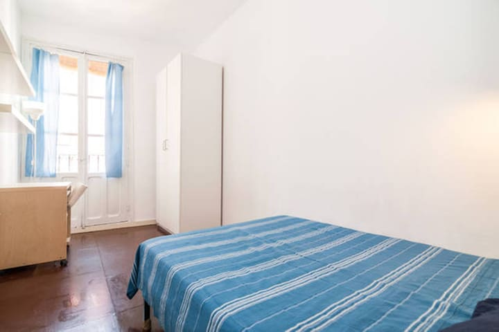 Large beautiful room with double bed and balcony.