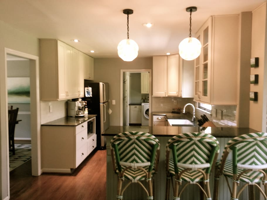 Open concept kitchen and family room.