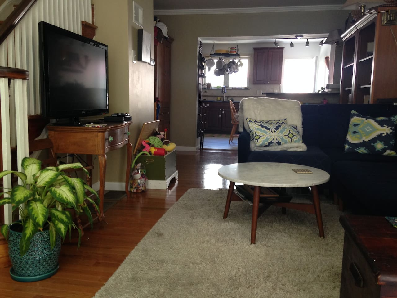 Comfortable living room with cable TV.