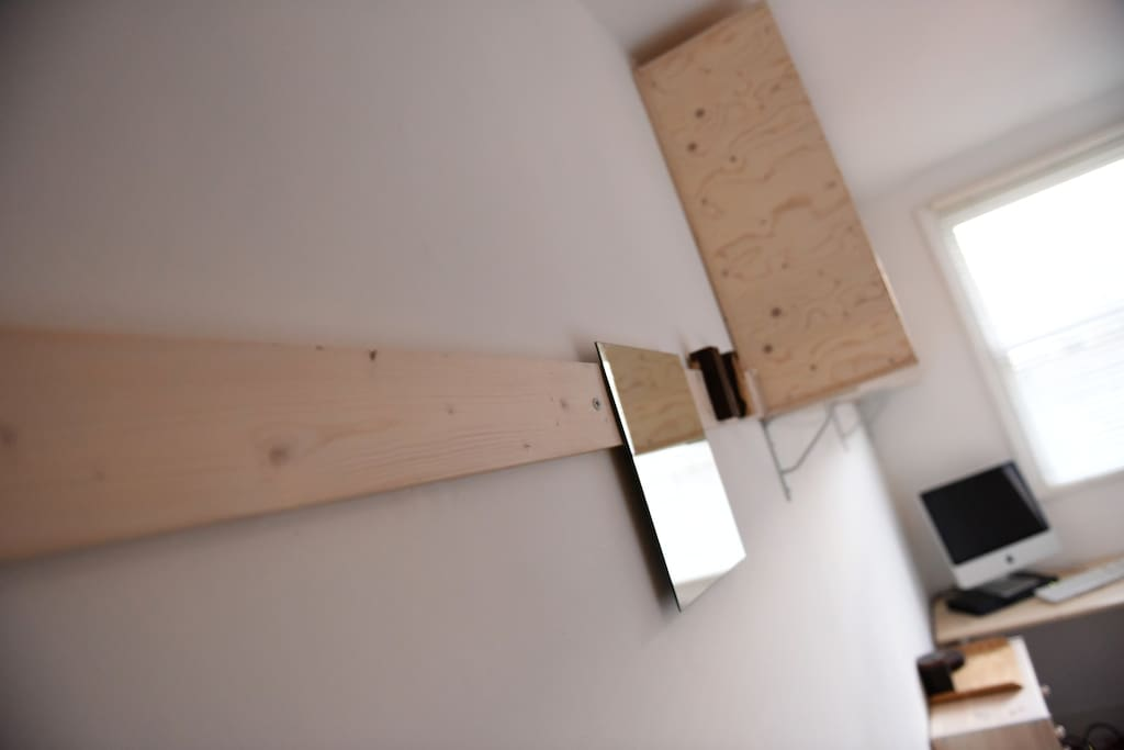 cleat, wall storage and desk in end bedroom.