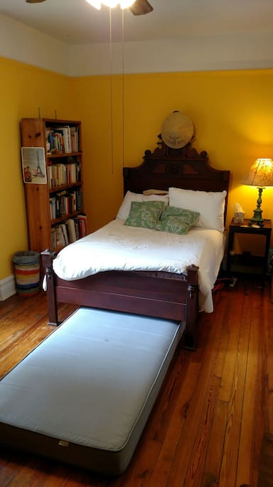 The antique bed is tight for two.  An extra  twin bed is also available.