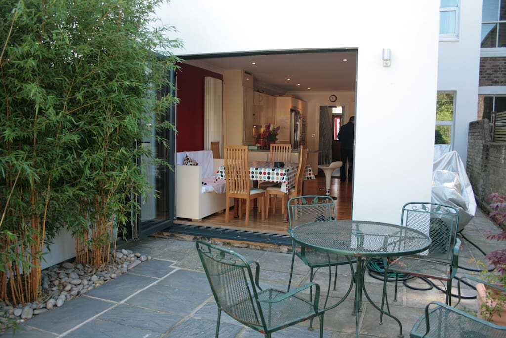 Back garden with bi fold doors to kitchen
