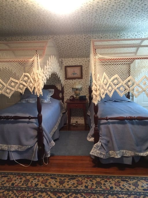 Gorgeous twin canopy beds
