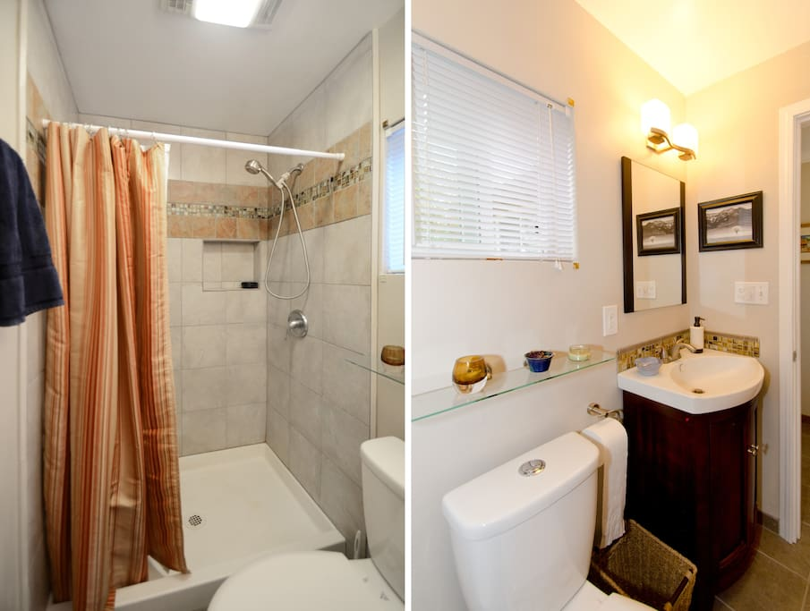 Nice tile shower and the bathroom warms up very quickly.