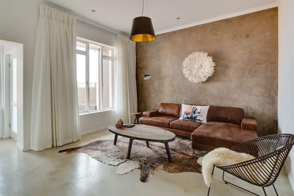 Designer lounge as you enter the house