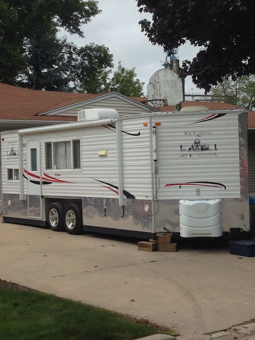 Awning can be extended out if you would like. We have on street parking. Camper stays in our driveway so you are in a safe residential area.