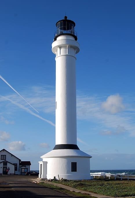 The historic Point Arena Lighthouse tower