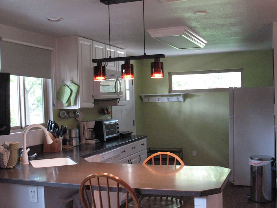 Large kitchenette filled with natural light.