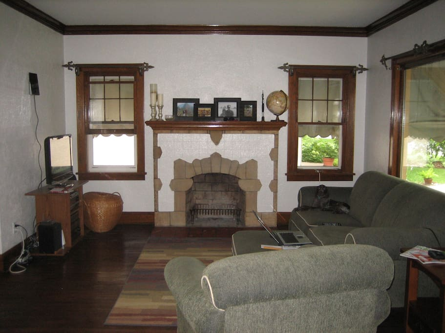 Our living room, but now we have different furniture.  We do not have cable, but do have Tevo and Netflix.