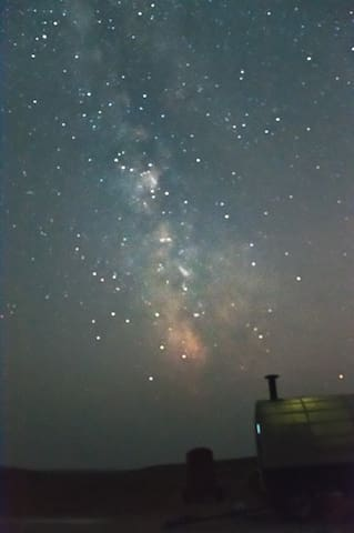 Stars and Milky Way over the sheep wagon, taken by guest Bram-Ernst Verhoef
